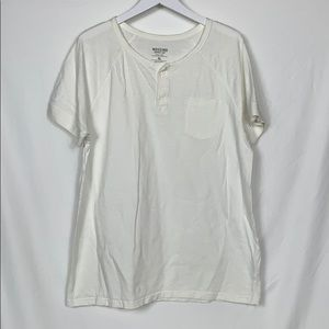 Mossimo size XL 2 button white tee shirt
